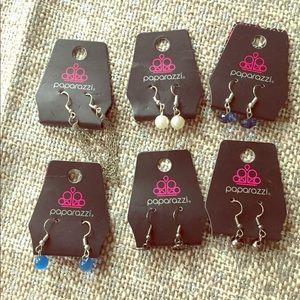 6 pair small earrings-various colors